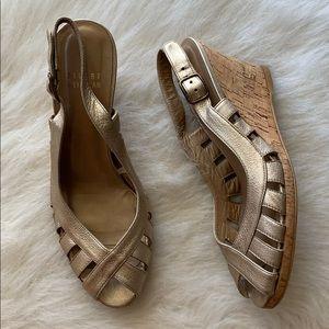 Stuart Weitzman metallic slingback cork wedge heel